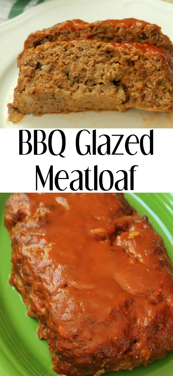 pinterest image for BBQ Glazed Meatloaf