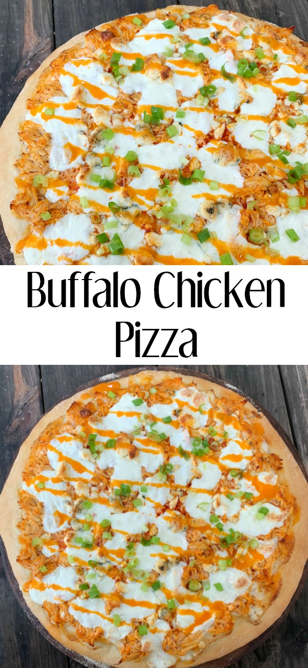 pinterest image for buffalo chicken pizza
