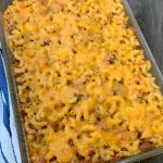 glass casserole pan with baked chili mac casserole