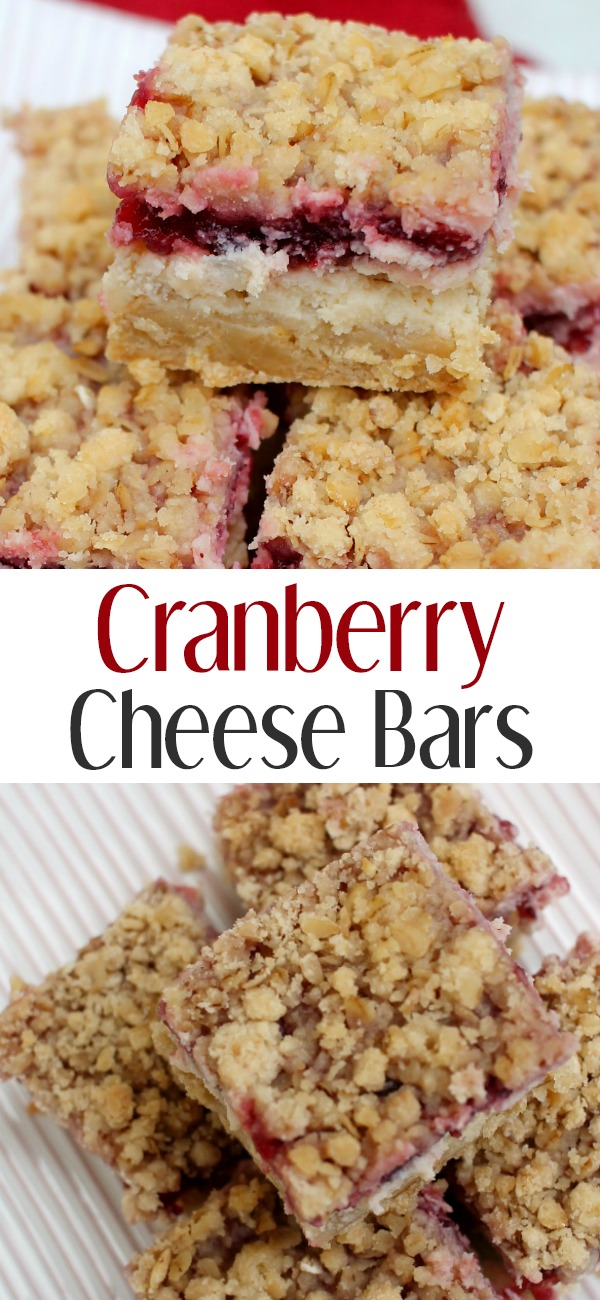 pinterest image for Cranberry Cheese Bars