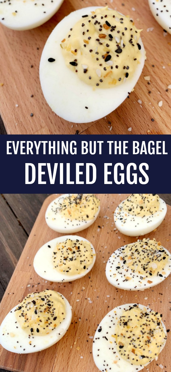 pinterest image for Everything But the Bagel Deviled Eggs