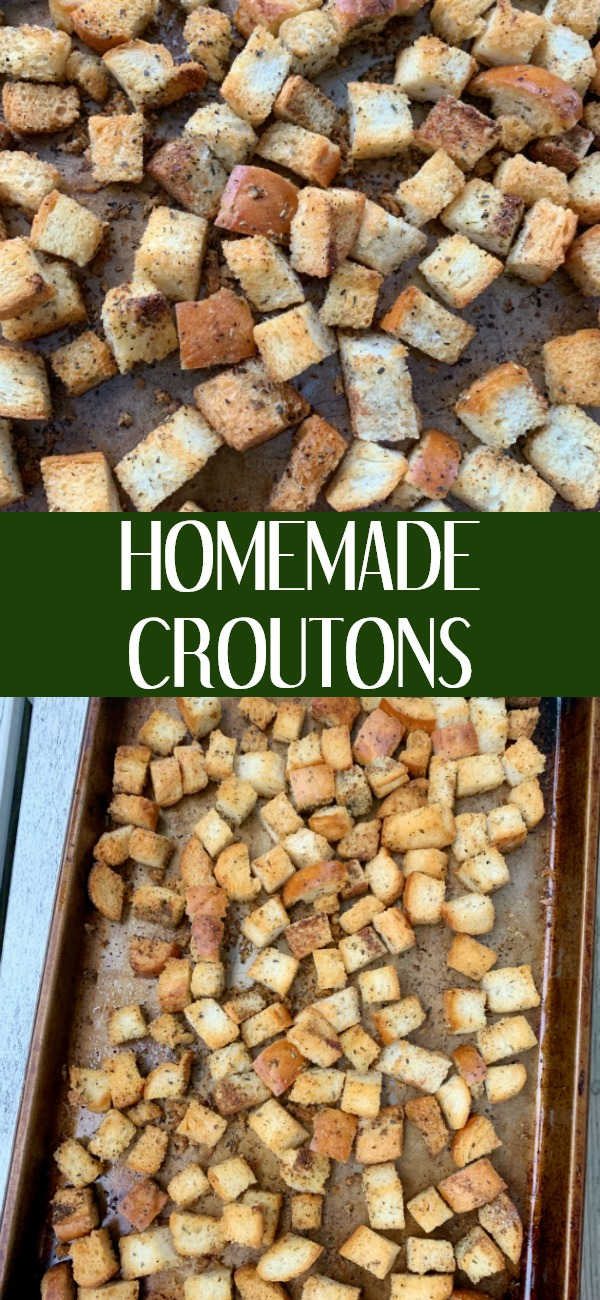 pinterest image for homemade croutons