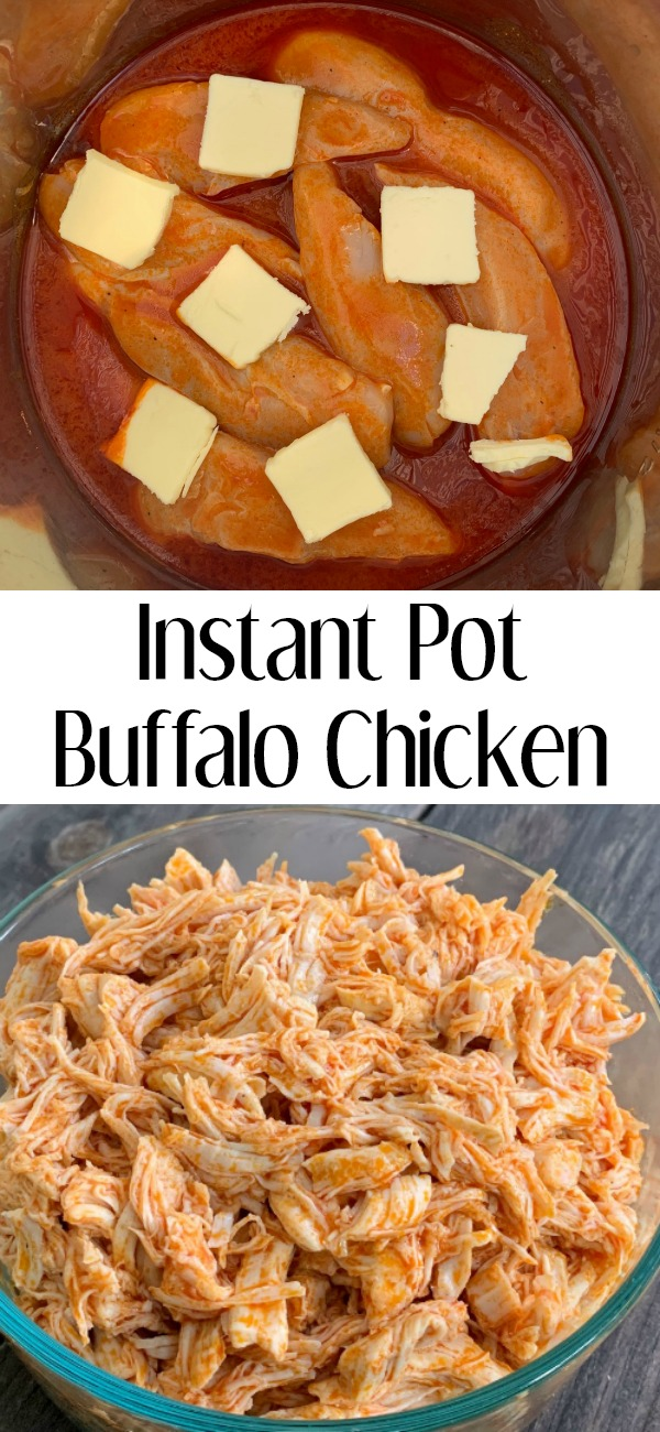 pinterest image for instant pot buffalo chicken