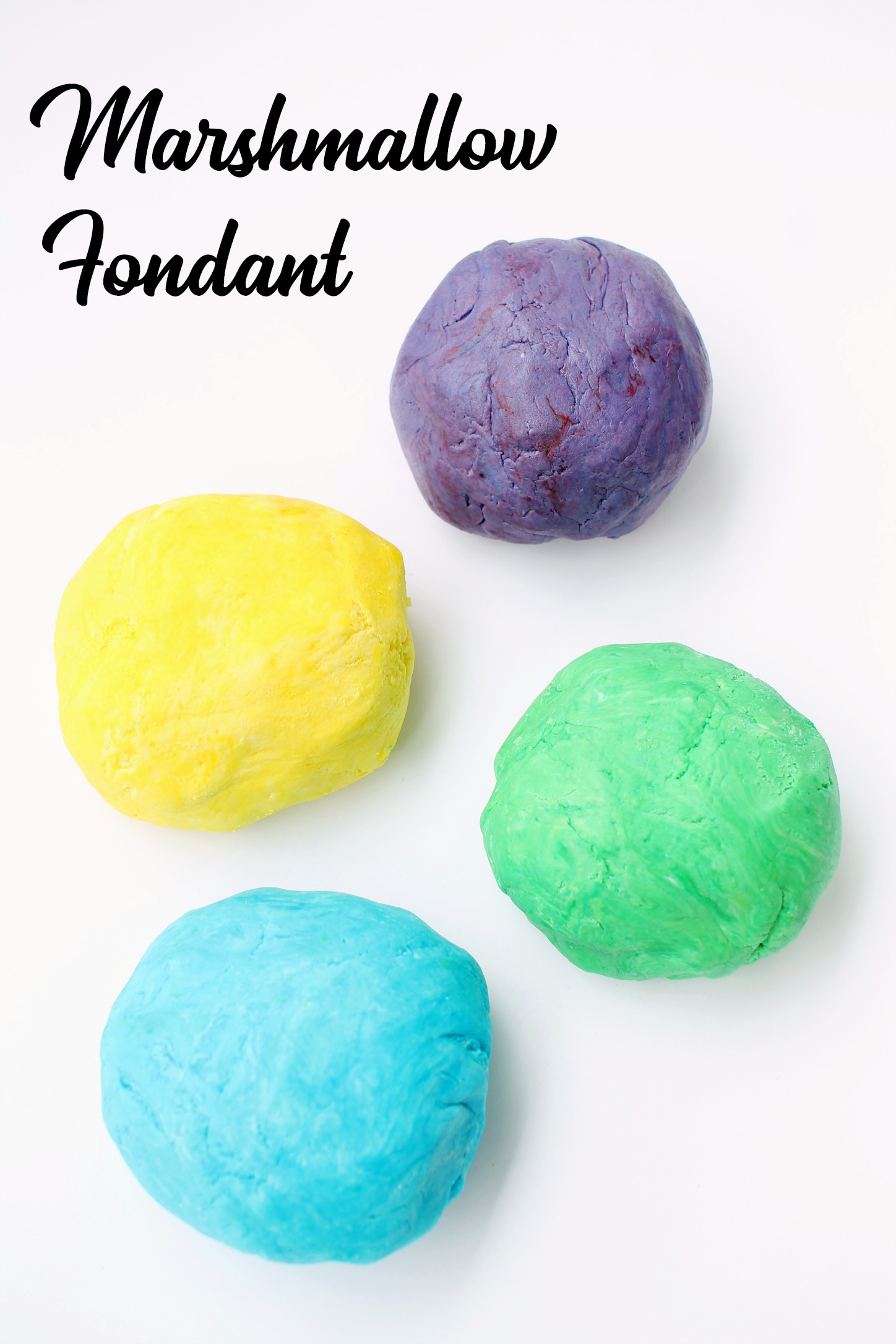 marshmallow fondant in 4 colors rolled into balls