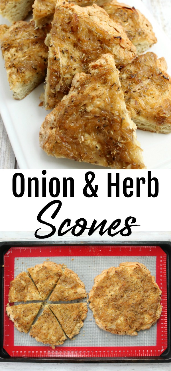 pinterest image for Onion and Herb Scones