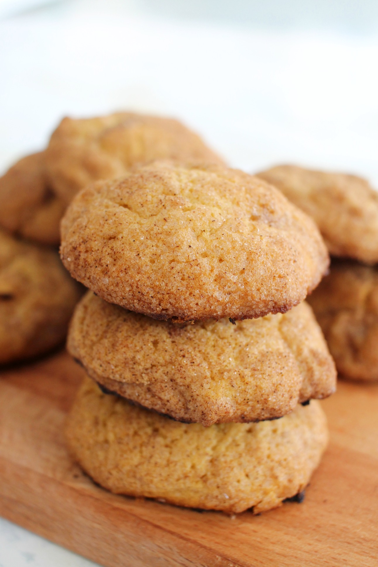 3 Pumpkin Snickerdoodles stacked on top of each other