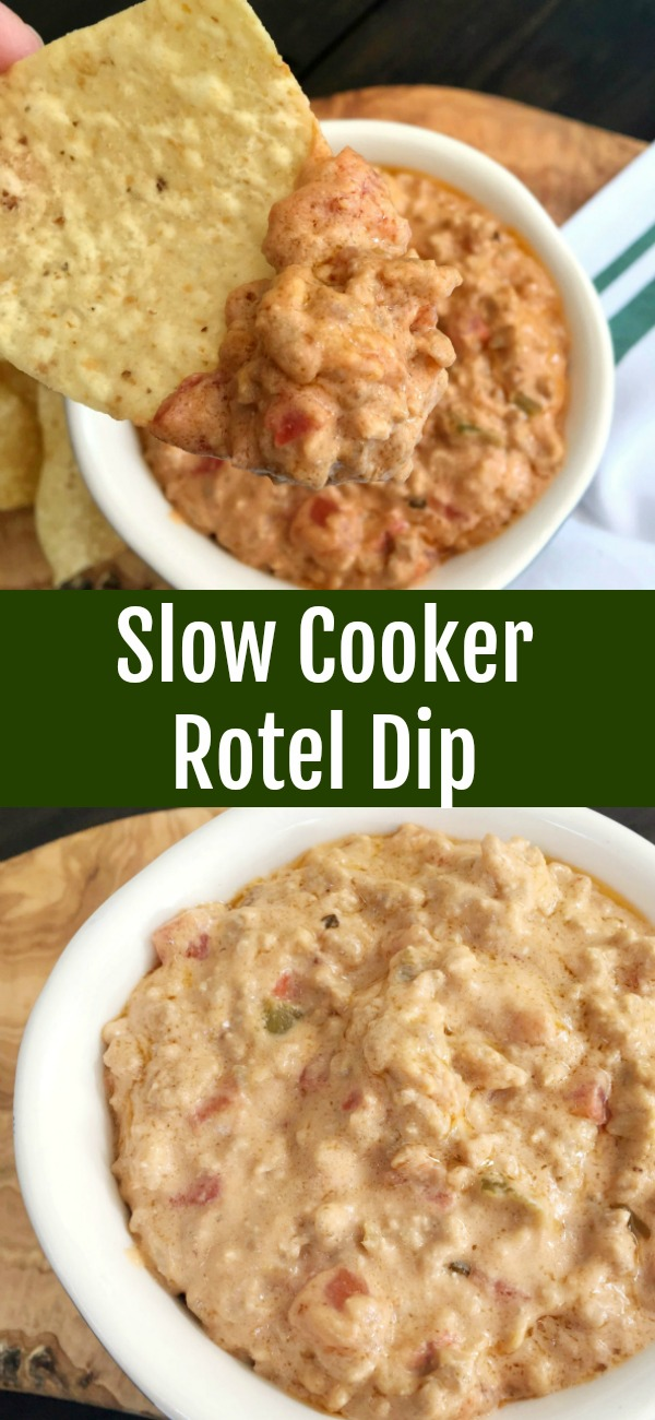 pinterest image for Slow Cooker Rotel Dip