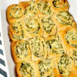 Spinach and Artichoke Crescent Rolls in a white pan