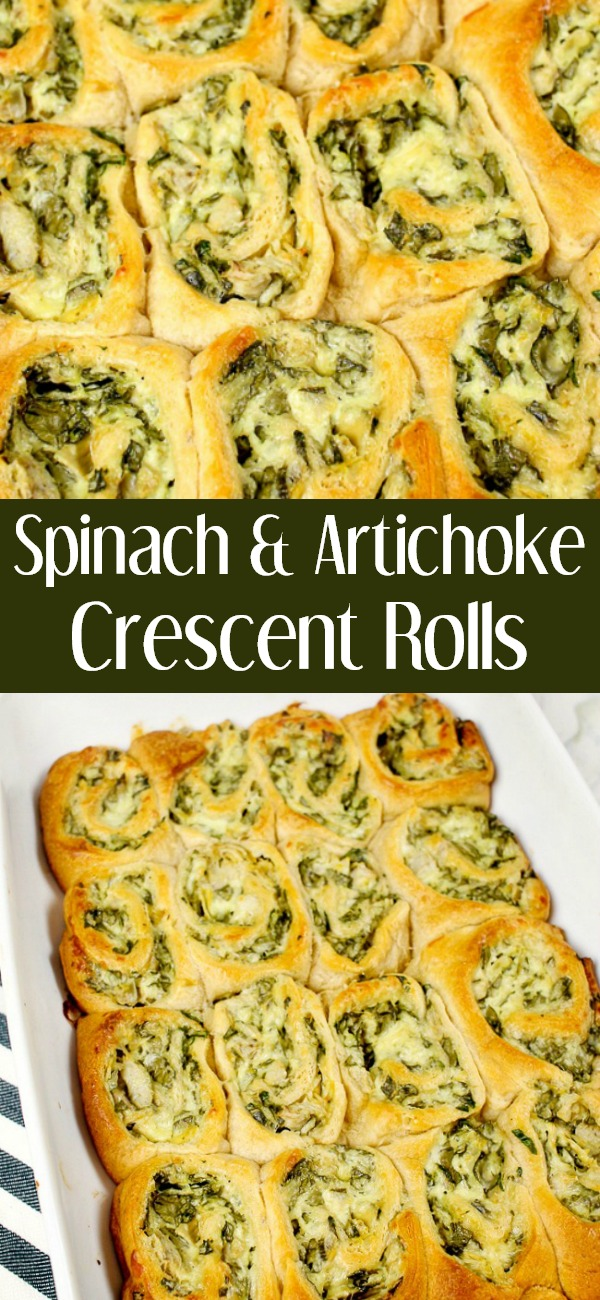 pinterest image for Spinach and Artichoke Crescent Rolls
