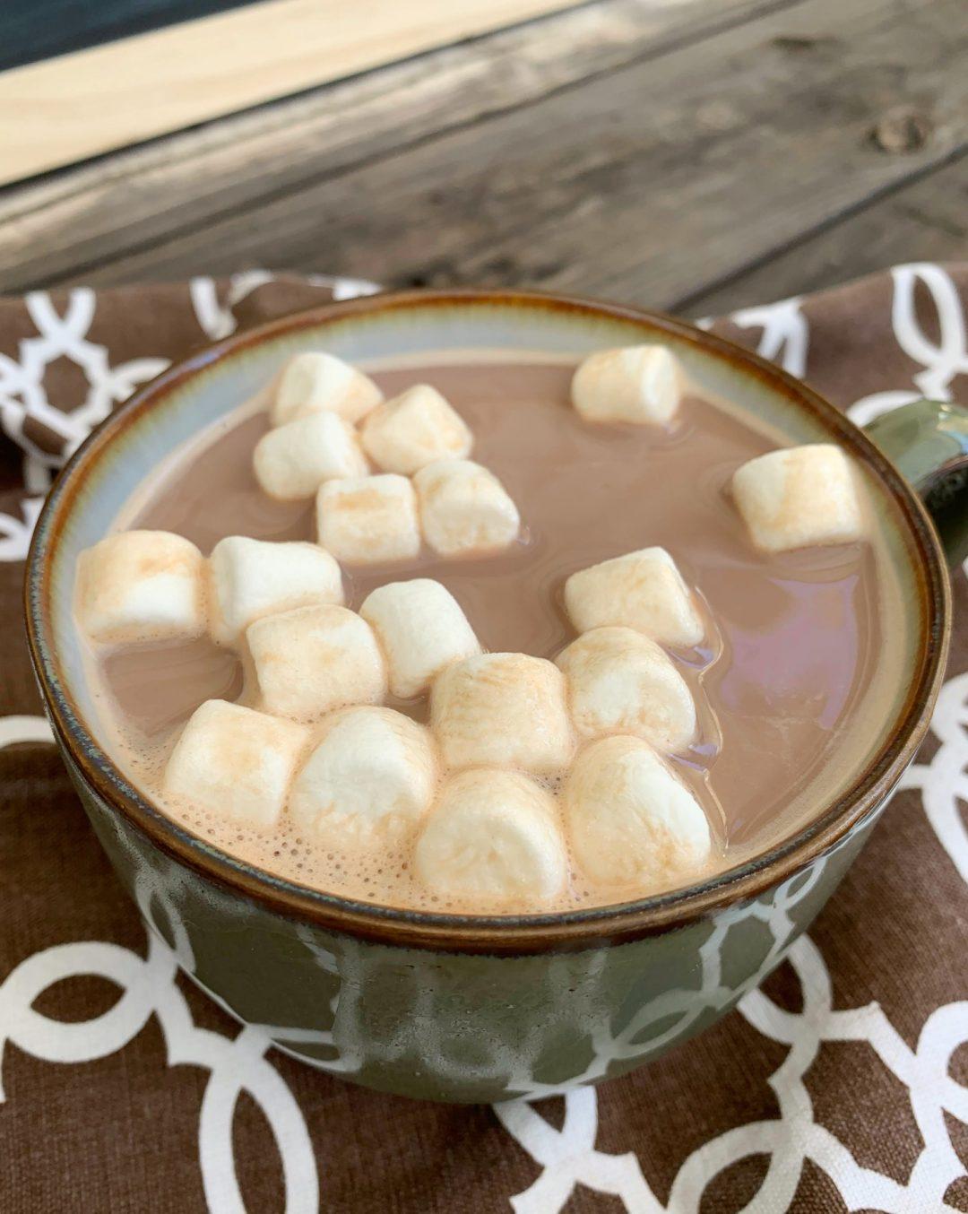 mug of hot chocolate with mini marshmallows