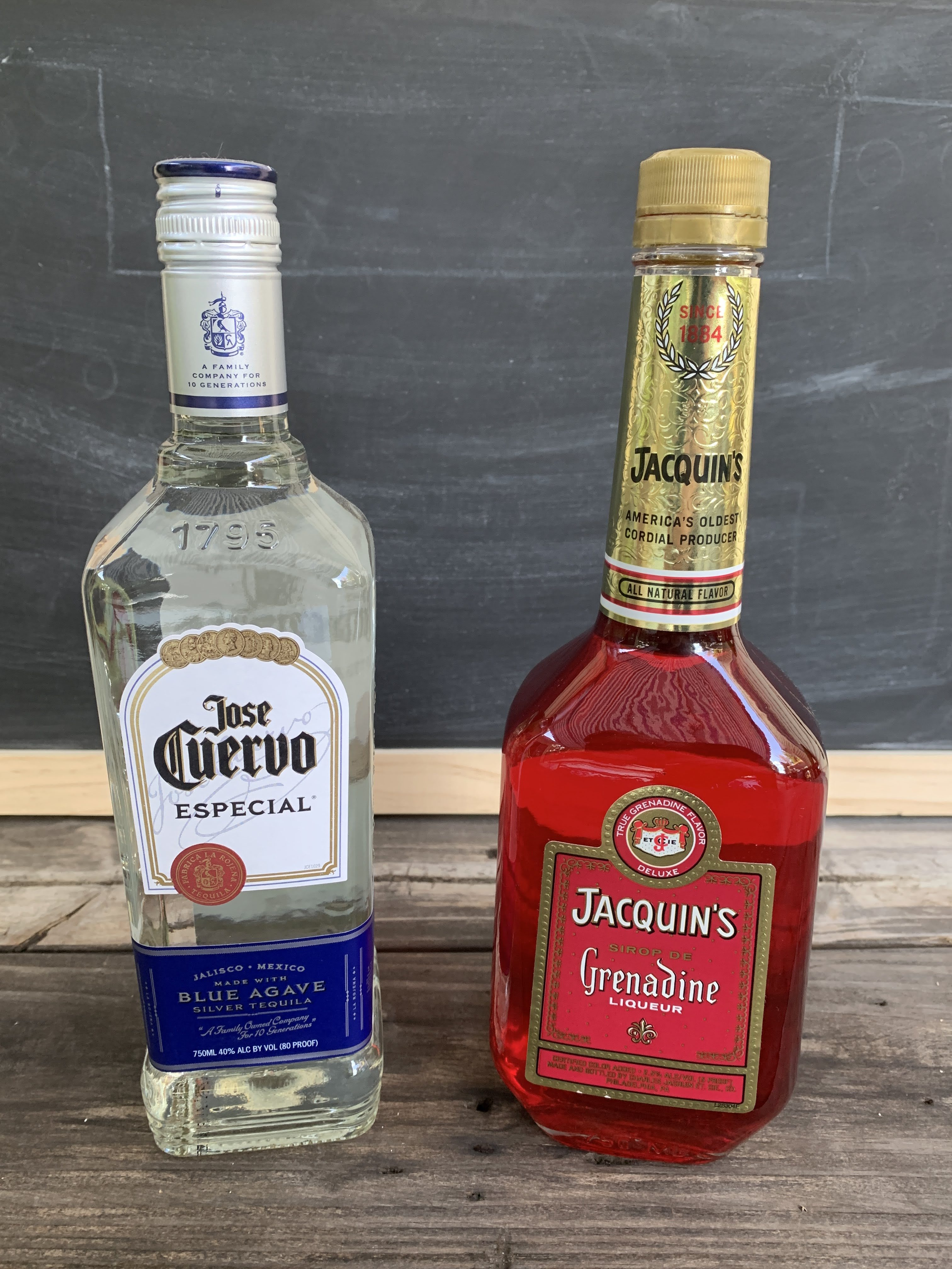 a bottle of tequila and a bottle of grenadine