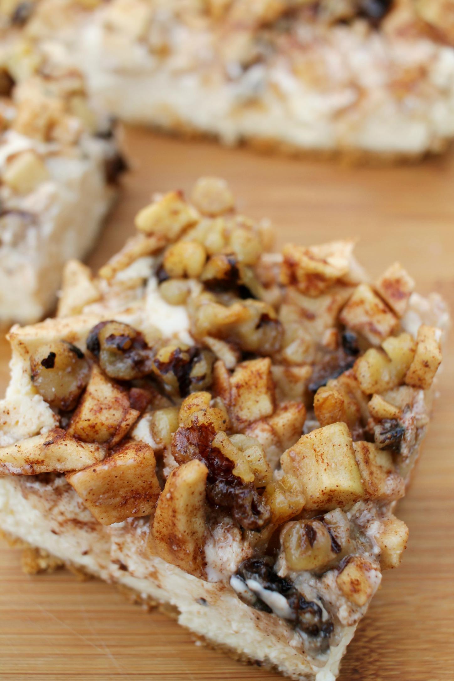 Apple Walnut Cheesecake Bar up close