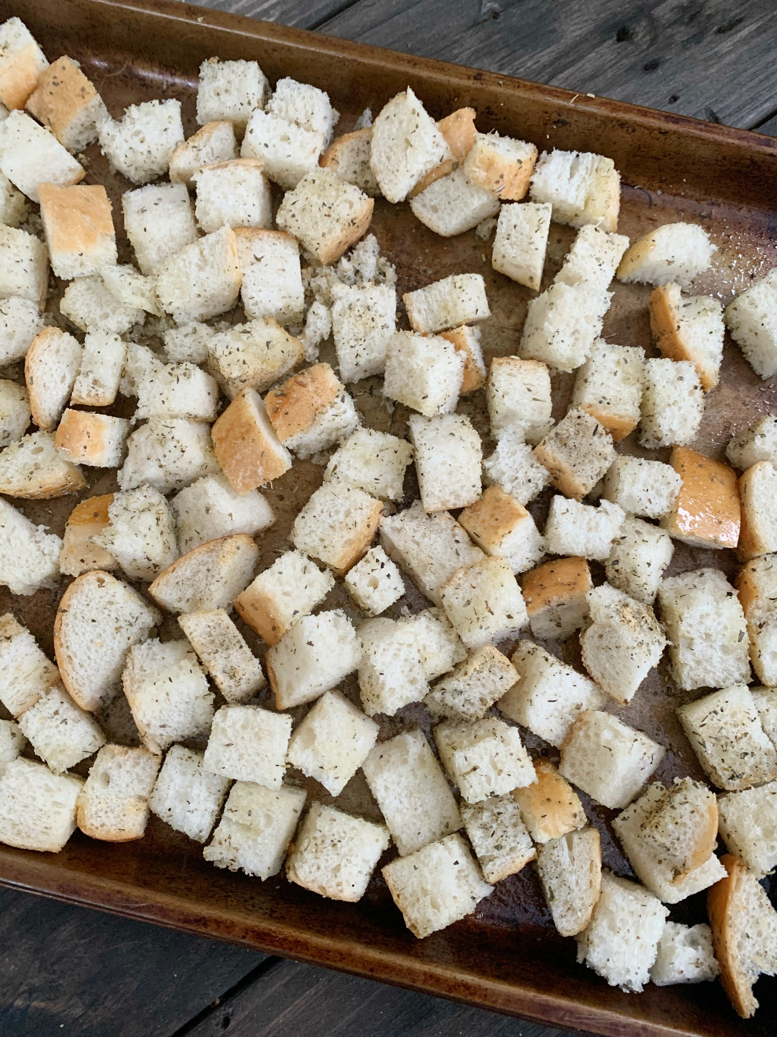 bread cubes before baking for croutons