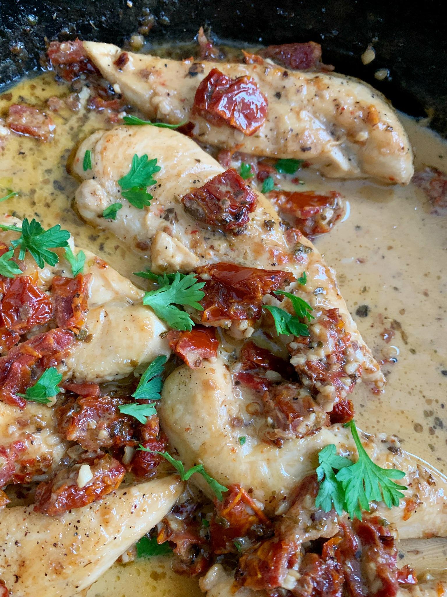 chicken tenders in parmesan sauce