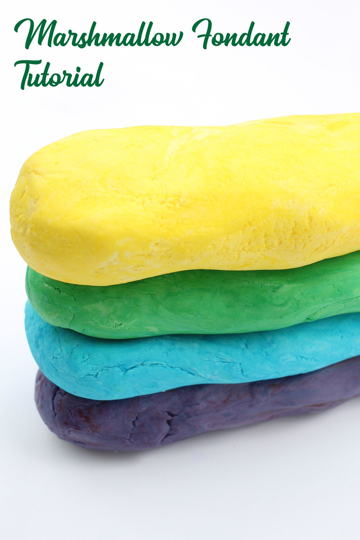 marshmallow fondant in 4 colors stacked on top of each other