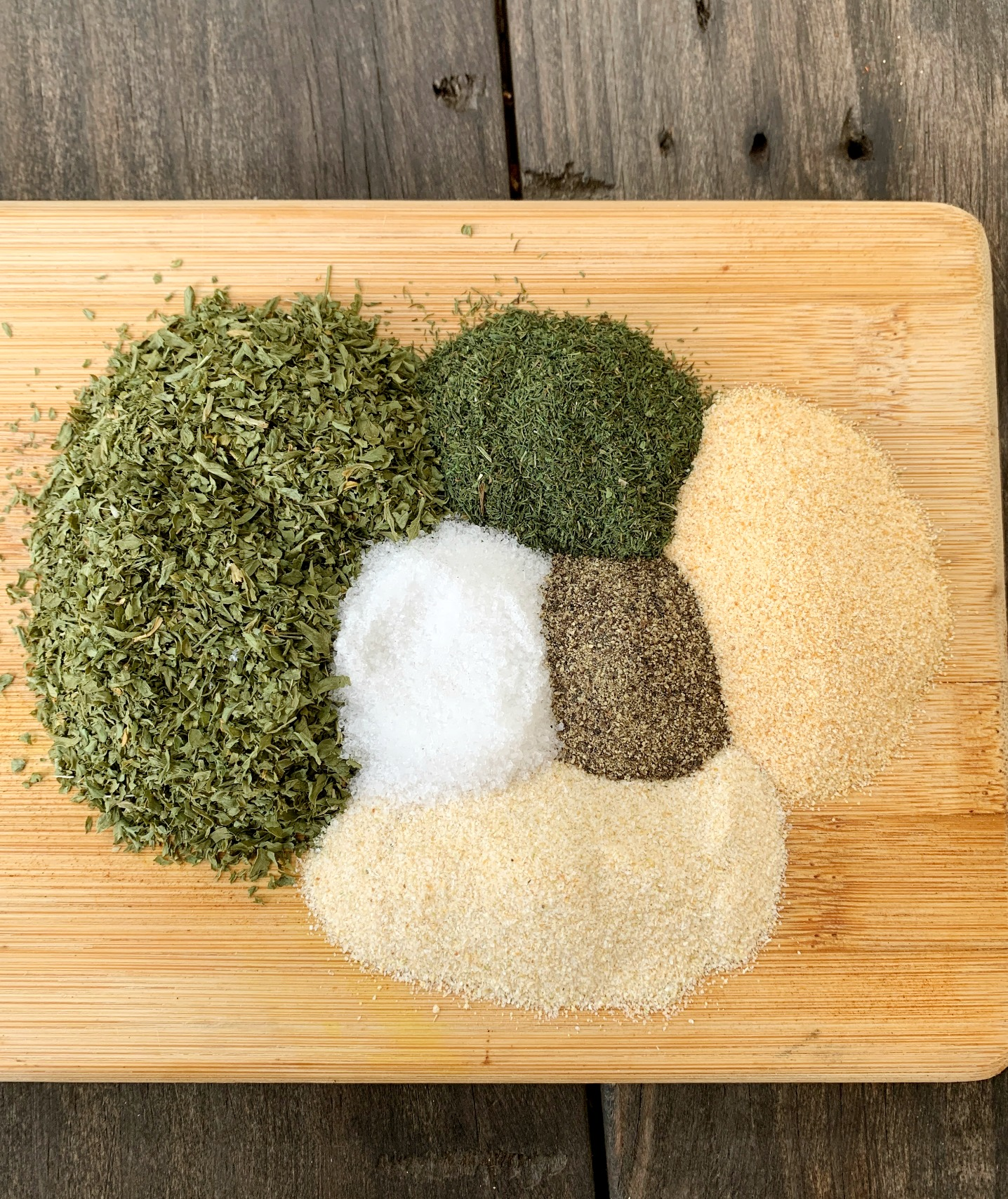 seasonings in different piles for homemade ranch seasoning