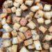 up close shot of croutons on baking sheet